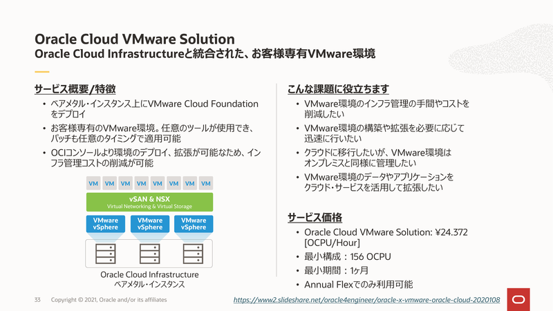 「Oracle Cloud VMware Solution」